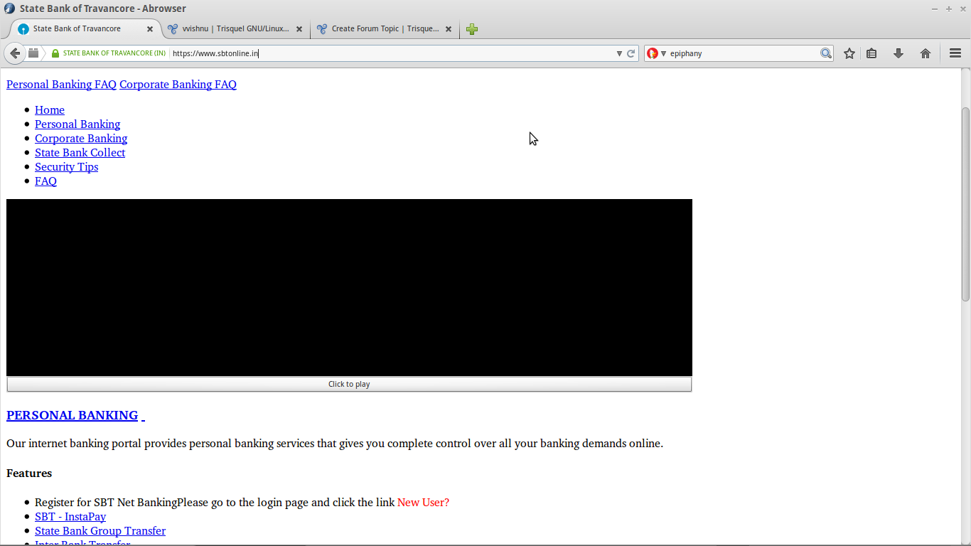 Abrowser not loading some websites properly | Trisquel GNU