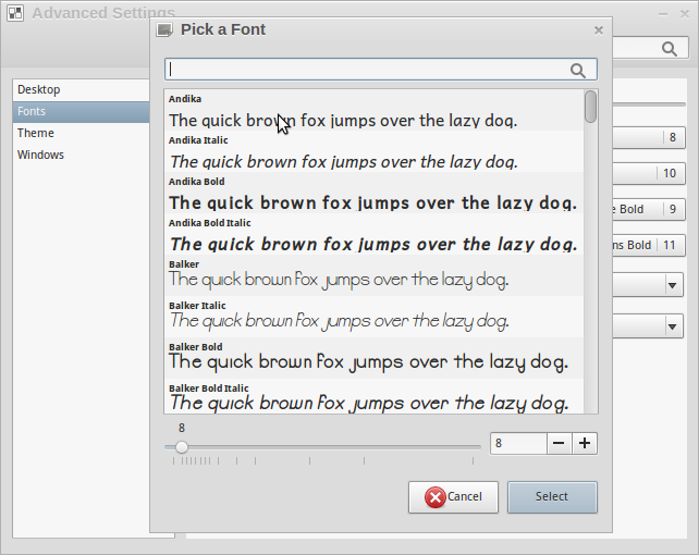 Font Selection window