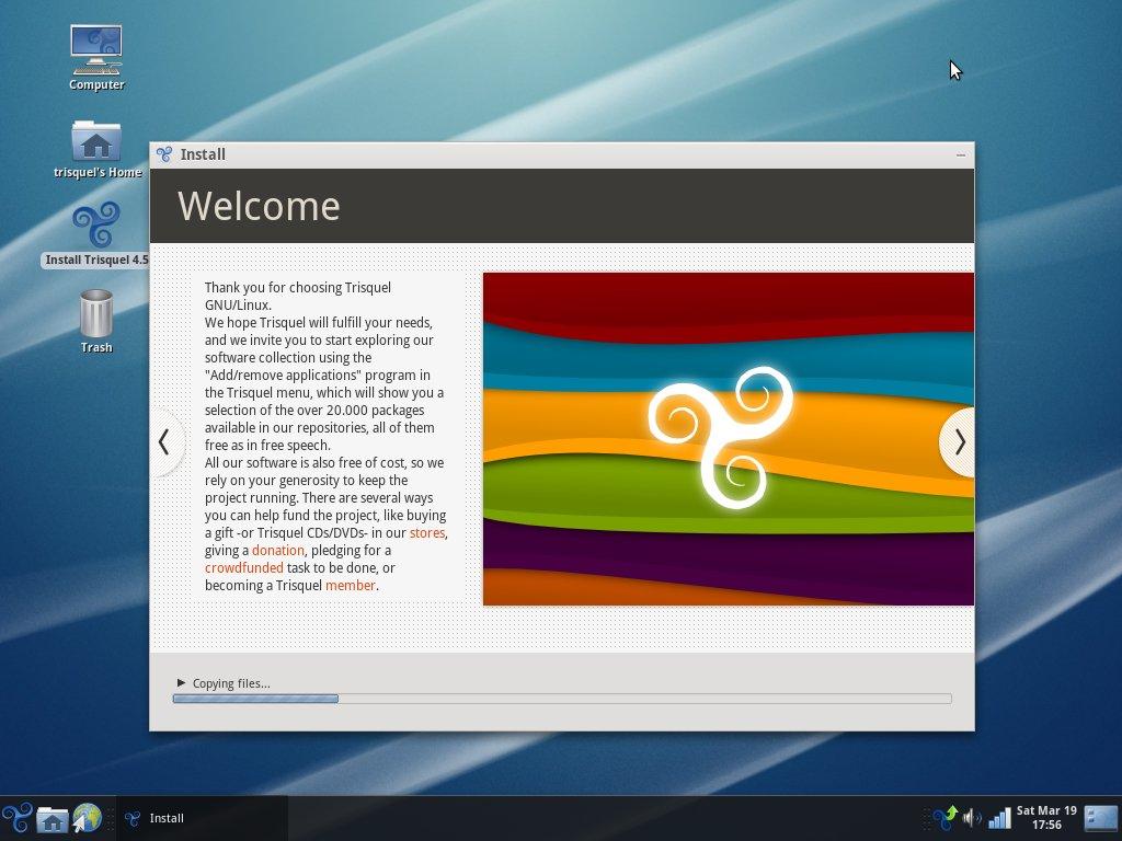 """Trisquel 4.5 """"Slaine"""" desktop."""