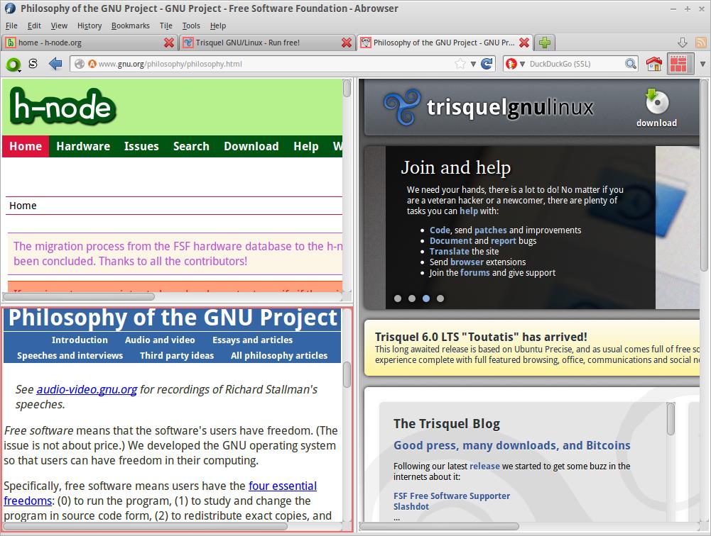 Tile Tabs | Trisquel GNU/Linux - En roue libre !